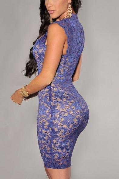 Womens New Trendy Sleeveless Mini Bodycon Lace Dress