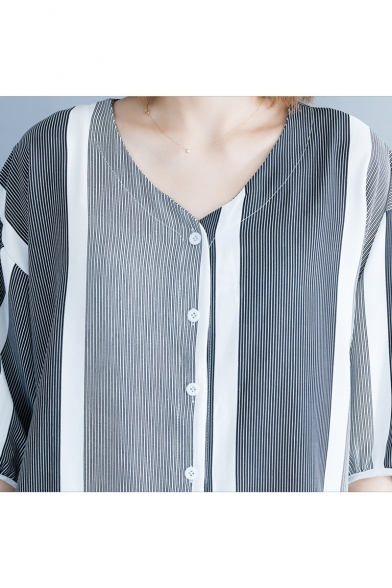 Womens Stylish Vertical Striped Printed V-Neck Button Down Casual Shirt Blouse