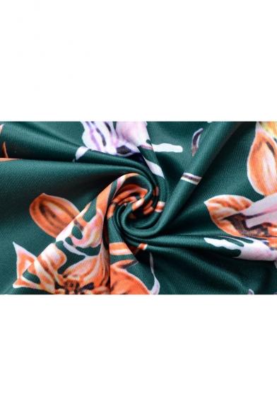 Womens Summer Fancy Floral Printed Round Neck Half Sleeve Midi Pencil Dress