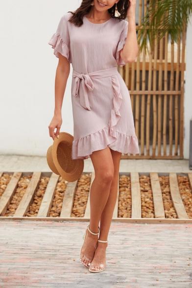 Womens Summer Fashion Plain Pink Round Neck Ruffled Hem Tied Waist Mini A-Line Asymmetric Dress