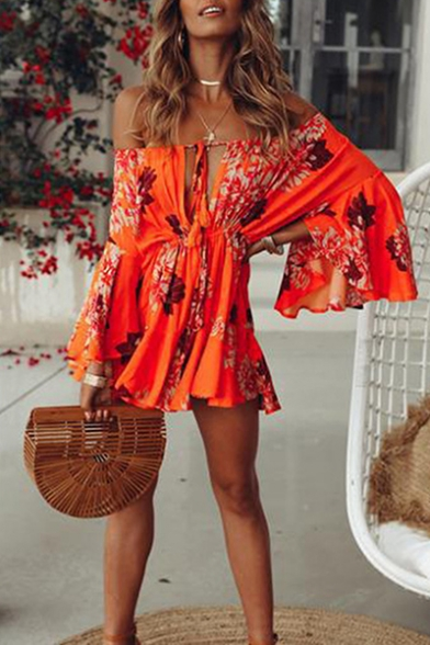 Womens Summer Holiday Orange Floral Print Off Shoulder Flared Sleeve Mini A-Line Dress