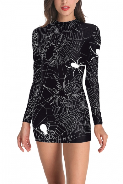 Womens Trendy Halloween Style Black Spider Wed Print High Neck Long Sleeves Zip-Back Mini Fitted Dress
