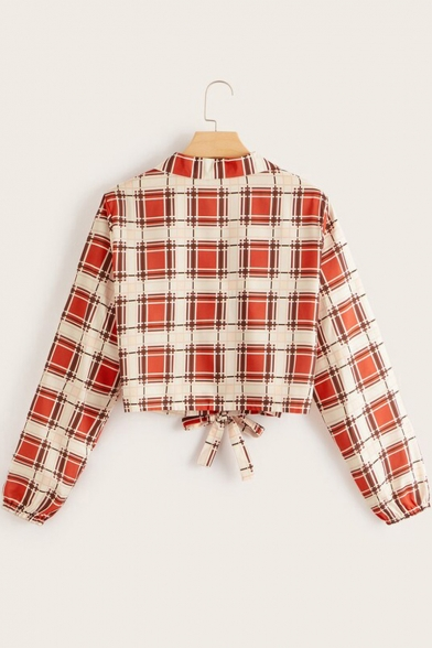 Womens Trendy Red Plaid Pattern Lapel Collar Long Sleeve Tied Hem Button Front Crop Shirt