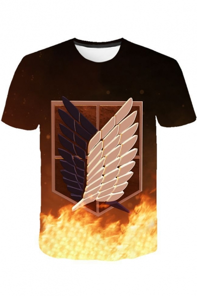 3D Fire Freedom Wing Printed Round Neck Short Sleeve T-Shirt