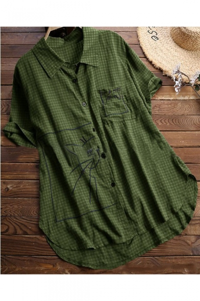 Cute Cartoon Cat Embroidery Plaid Print Button Down Loose Fit Longline Shirt