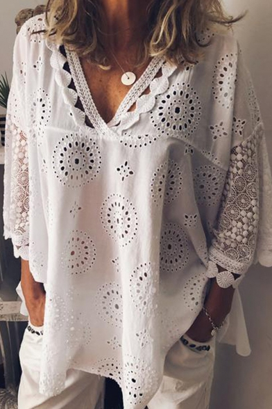 Fashion Lace Trim Hollow Out Crochet V-Neck Oversized Loose Plain Blouse Top for Women