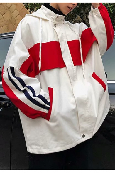 Guys New Fashion Color Block Letter Back Striped Long Sleeve Hooded Casual Jacket Coat