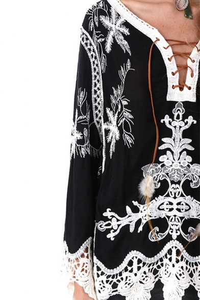 Hot Fashion V-Neck Floral Embroidered Lace Up Cutout Lace Trim Long Sleeve Boho Womens Blouse