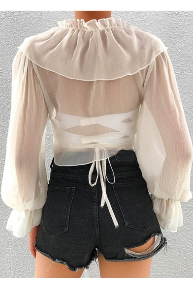 Hot Trendy Womens Sexy Sheer Ruffle Trim V Neck Blouson Sleeve Chiffon Blouse