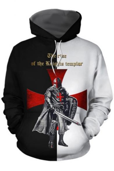 Knights Templar Fashion Cool Cross Figure Print Black and White Hoodie