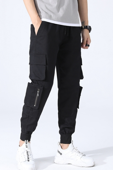Men's Casual Solid Color Multi-pocket Design Drawstring Waist Elastic Cuff Cotton Cargo Pants