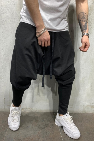 Men's Cool Fashion Simple Plain Drawstring Waist Drop-Crotch Hip Pop Harem Pants