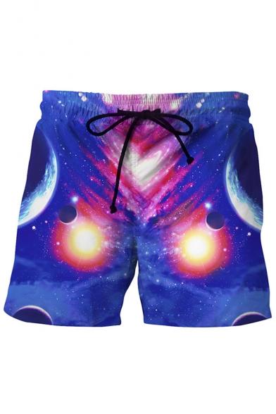 Men's Creative 3D Galaxy Print Blue Drawstring Beach Shorts Swim Trunks