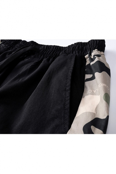 Men's Fashion Popular Camouflage Printed Letter Patchwork Drawstring Waist Casual Cargo Shorts