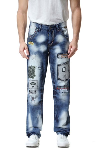Men's Fashion Vintage Washed Graphic Patched Blue Casual Relaxed Jeans