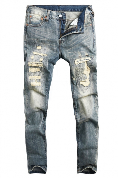 Men's Fashion Vintage Washed Simple Plain Light Blue Stretch Slim Fit Casual Retro Ripped Jeans