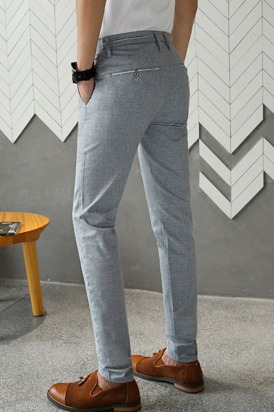 Men's New Fashion Simple Plain Trendy Slim Fitted Casual Dress Pants