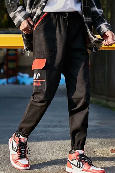 Men's New Stylish Letter Printed Flap Pocket Side Drawstring Waist Elastic Cuffs Black Casual Cargo Pants