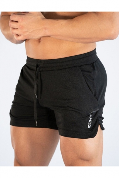 Men's New Stylish Letter Printed Side Slit Drawstring Waist Fitness Shorts