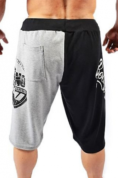 Men's Popular Fashion Color Block Letter Printed Drawstring Waist Black and Grey Loose Fit Casual Sports Sweat Shorts