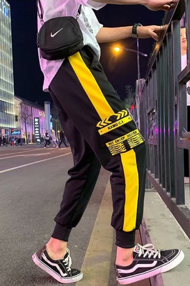 Men's Street Style Trendy Letter Printed Colorblock Patched Black Casual Track Pants