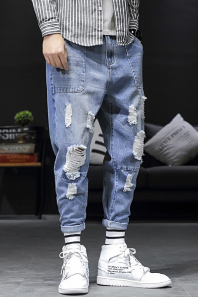Relaxed Fit Blue Ripped Tapered Jeans