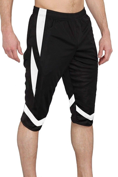 Men's Summer Fashion Color Block Elastic Waist Casual Cotton Sweat Shorts