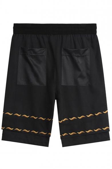 Men's Summer Stylish Letter Badge Horse Pattern Drawstring Waist Black Casual Active Shorts