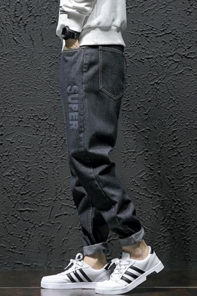 Men's Trendy Letter SUPER Printed Rolled Cuffs Black Loose Fit Black Tapered Jeans