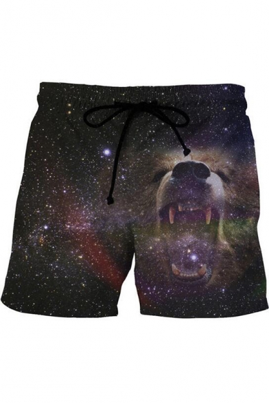 New Fashion 3D Galaxy Animal Printed Drawstring Waist Navy Summer Beach Swim Trunks