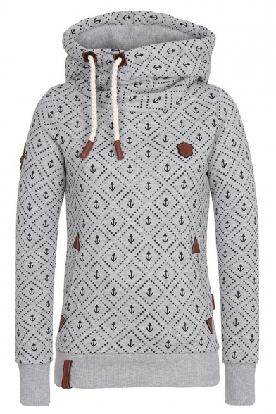 New Fashion Allover Anchor Printed Long Sleeve Slim Fitted Drawstring Hoodie