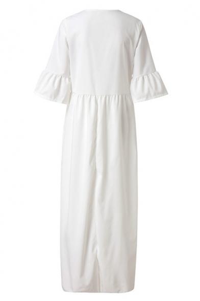 New Fashion Tribal Floral Printed Bell Half Sleeve Split Front Maxi Boho Dress