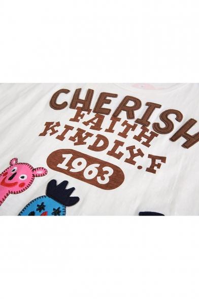 Popular Funny Cartoon Letter CHERISH Print Round Neck Short Sleeve White Tee