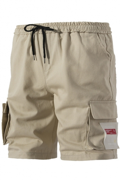 Simple Fashion Letter Patchwork Flap Pocket Side Drawstring Waist Loose Fit Casual Cargo Shorts