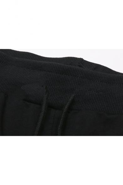 Street Style Letter Printed Men's Fashion Black Cotton Sweat Shorts