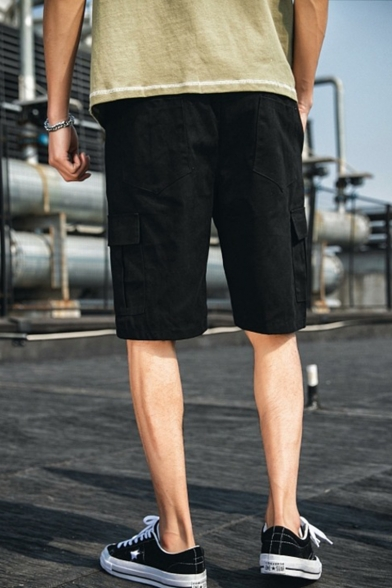 Street Style Trendy Plain Flap Pocket Drawstring Waist Loose Fit Casual Cargo Shorts