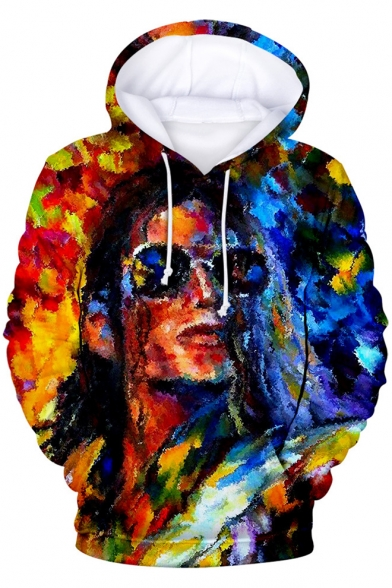 Stylish Colorful Oil Painting 3D Figure Printed Long Sleeve Casual Pullover Hoodie
