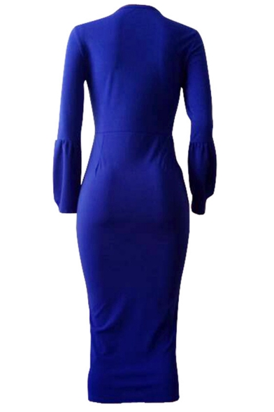 Stylish Womens Elegant Round Neck Sexy Blue Long Bell Sleeve Fitted Midi Dress