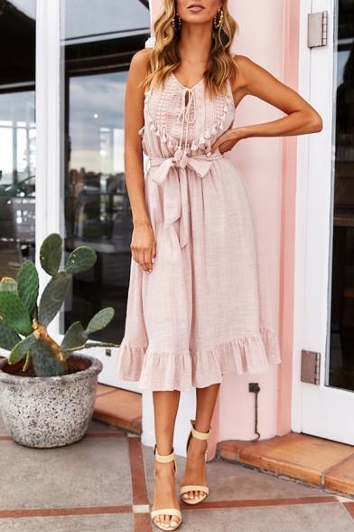 Summer Fancy V-Neck Sleeveless Bow-Tied Waist Midi A-Line Ruffled Dress