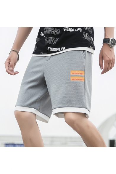Summer Fashion Contrast Trim Letter Printed Drawstring Waist Casual Athletic Shorts