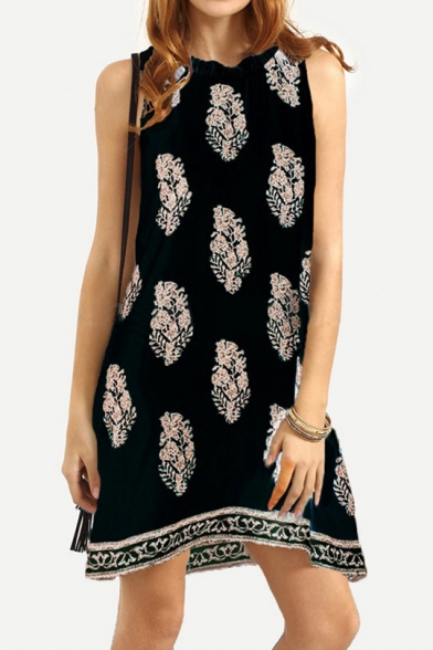 Summer Fashion Leaf Pattern Sleeveless Casual Loose Mini Swing Tank Dress