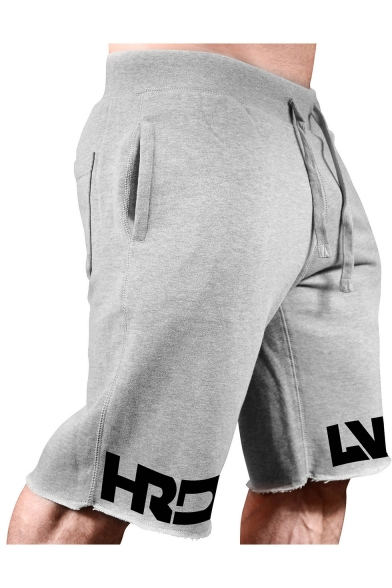 Summer Fashion Letter Printed Drawstring Waist Cutoff Style Cotton Casual Sports Sweat Shorts for Men