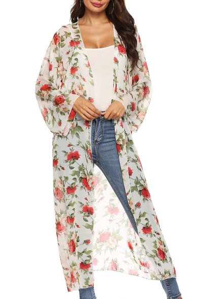 Summer Hot Stylish Fancy Rose Printed Long Sleeve Chiffon Beach Sunscreen Cardigan Tunic Shirt
