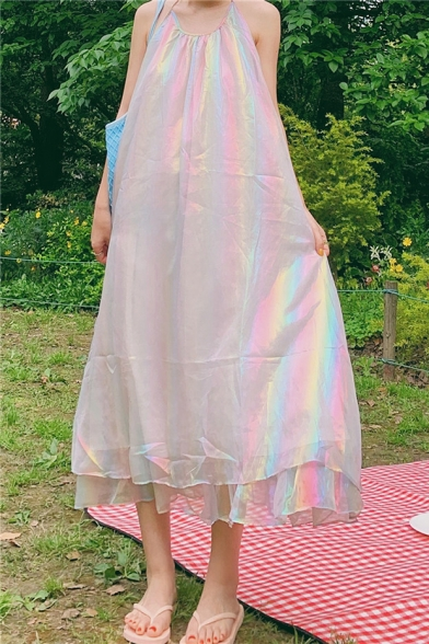Summer New Trendy Unique Rainbow Color Halter Sleeveless Layer Hem Midi A-Line Dress