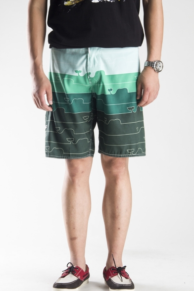 Summer Stylish Casual Quick Drying Colorblocked Pattern Drawstring Waist Beach Short Swim Trunks for Guys with Side Pocket