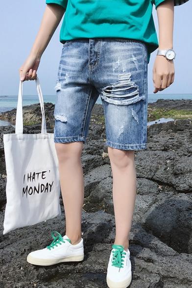 Summer Trendy Simple Plain Blue Frayed Ripped Denim Shorts for Men