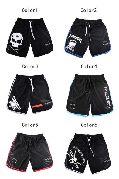 Summer Trendy Skull Letter Print Drawstring Waist Quick Drying Sport Running Shorts for Men