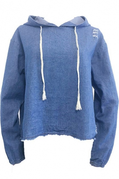 Unique Denim Blue Simple Plain Destroyed Ripped Long Sleeve Loose Drawstring Hoodie