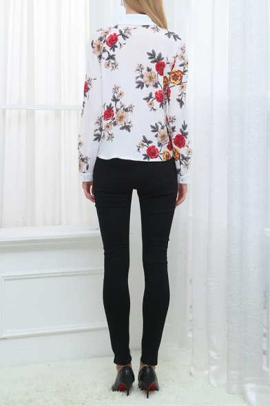 Womens Chic White Floral Pattern Long Sleeve Button Down Fitted Shirt