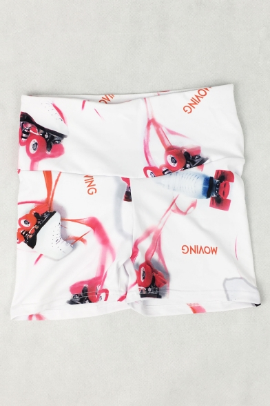 Womens Cool Roller Skates Printed White High Rise Quick Dry Fitness Yoga Shorts